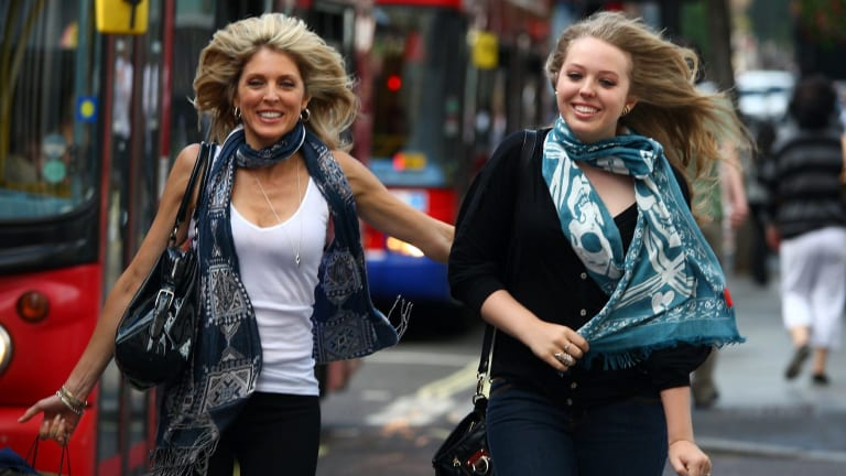 Tiffany Trump, right, pictured with her mother Marla Maples in London in August 2009.