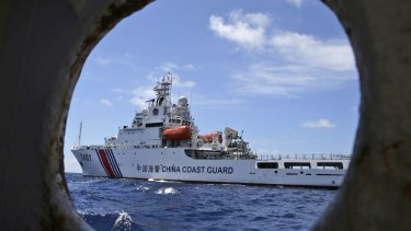 A Chinese Coast Guard ship attempts to block a Philippines government vessel at the Second Thomas Shoal in the South China Sea.