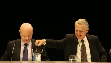 CBA chief executive Ian Narev (left) and chairman David Turner at the Commonwealth Bank's 2015 annual meeting.