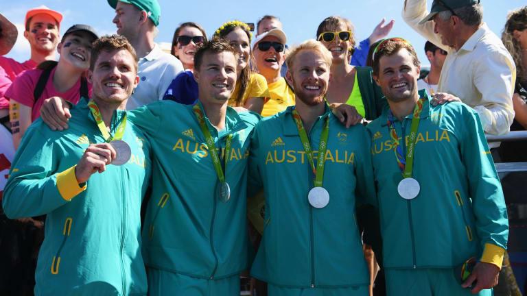 Still smiling: Australia's men's quad sculls crew.