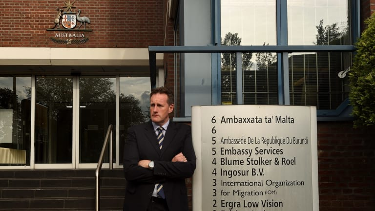 AFP senior investigator Andrew Donoghoe in front of the Australian embassy in The Hague.