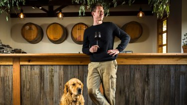 Taste test: Tiger Dylan Grimes at Mount Macedon Winery, which he purchased last year.