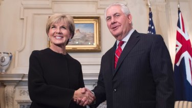 Foreign Affairs Minister Julie Bishop with US Secretary of State Rex Tillerson in Washington.