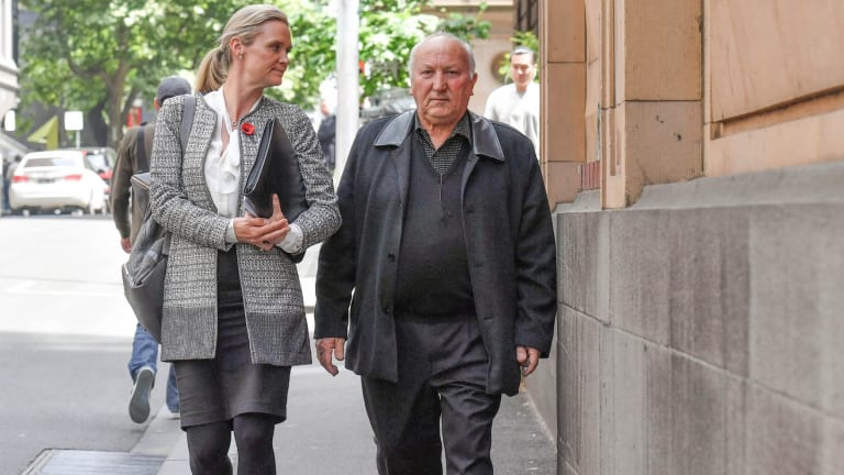 Tom Montalto with his lawyer, Alexandra Tighe from Holding Redlich, leave the Supreme Court.