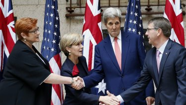 Supporting a US presence ... (From left) Australia's Defence Minister Marise Payne and Foreign Minister Julie Bishop, and US Secretary of State John Kerry and Defence Secretary Ash Carter.