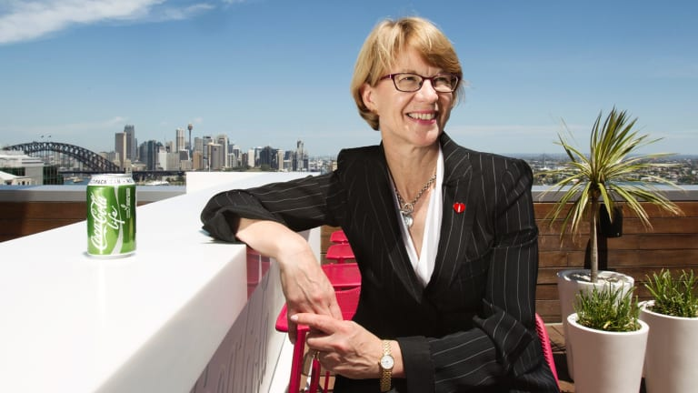 Coca-Cola Amatil chief executive Alison Watkins with a can of Coke Life.