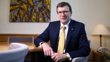 Human Services Minister Alan Tudge in his Parliament House office.