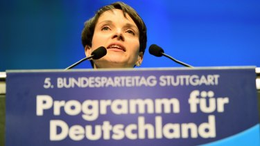 Frauke Petry, head of the AfD political party, speaks at the convention.