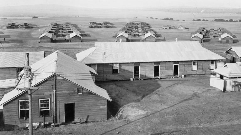 A row of buildings inside the Molonglo Internment Camp.