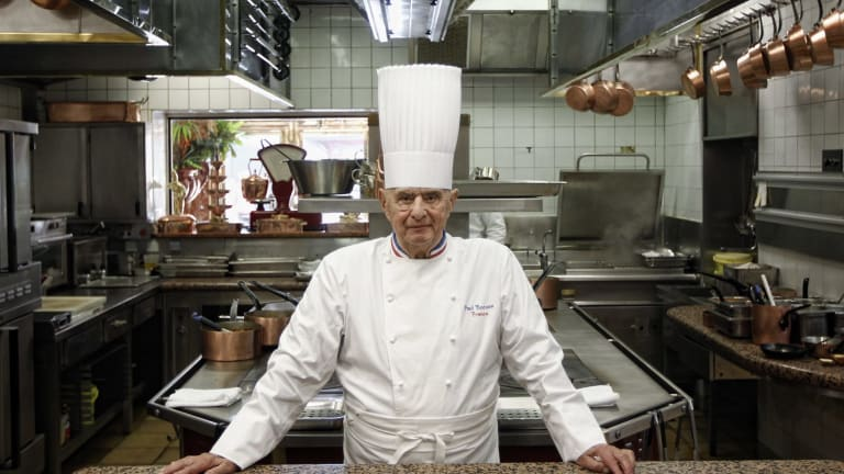 French Chef Paul Bocuse in 2011 at his famed Michelin three-star restaurant L'Auberge du Pont de Collonges in Collonges-au-Mont-d'or, central France.