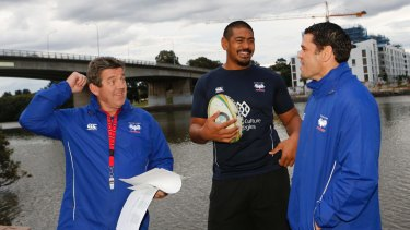 Western Sydney Rams coach John Mugggleton, second-rower Will Skelton and assistant coach Jeremy Paul.