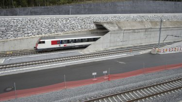 A test train drives close to the northern gate near Erstfeld, Switzerland.
