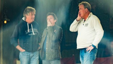 Presenters James May, Richard Hammond and Jeremy Clarkson on the set.
