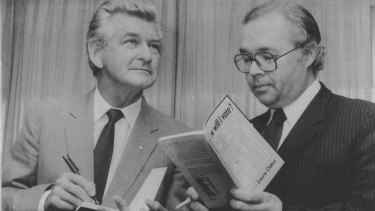 Then-PM Bob Hawke and journalist Laurie Oakes at his book launch at National Press Club in Canberra on October 31, 1984.