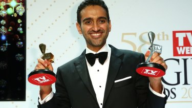 <i>The Project's</i> Waleed Aly poses with the Gold Logie and Silver Logie for Best Presenter.