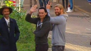 Chris Hemsworth and Tom Hiddleston in Brisbane for the filming of <i>Thor: Ragnarok</i>.