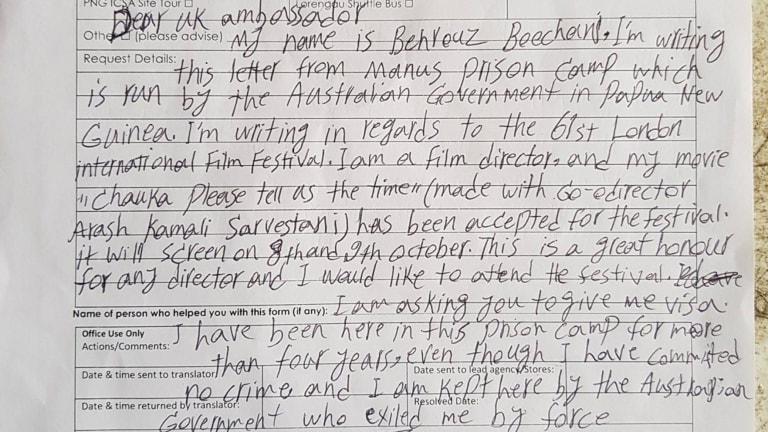 Behrouz Boochani's letter to the British High Commissioner.