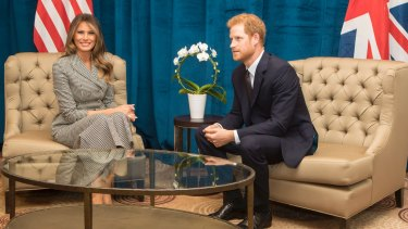 Britain's Prince Harry and First Lady of the United States Melania Trump hold a bilateral meeting ahead of the start of the 2017 Invictus Games in Toronto, Canada.