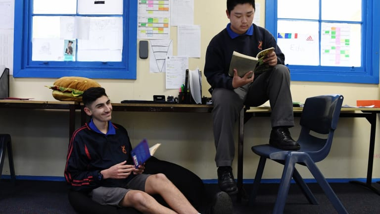 Liverpool Boys High School students Jamiel Yasin, 15, and Jacky Zhu, 14, are doing the portfolio-based Big Picture program instead of traditional year 9 and 10 classes.