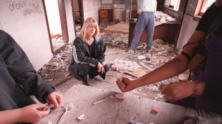 Professor Lisa Maher watching two teenagers injecting heroin in Cambramatta in 1996.