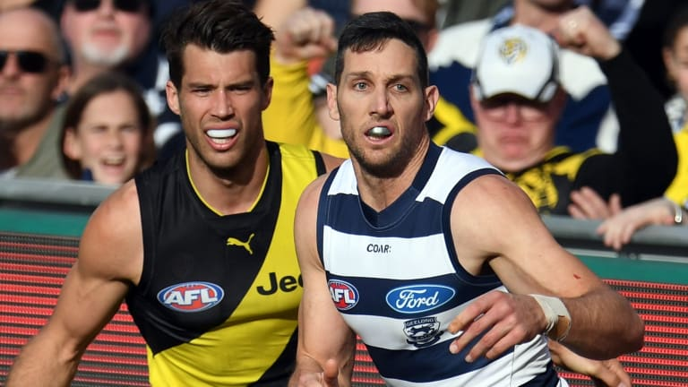 Outplayed: Alex Rance and Harry Taylor.