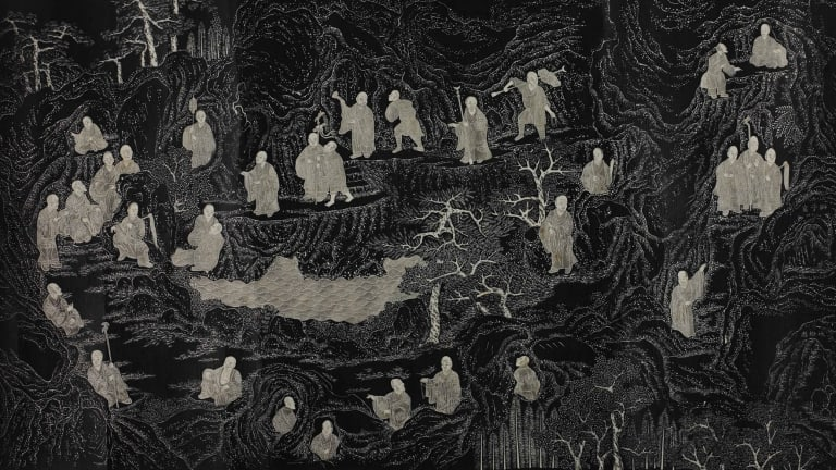 Five Hundred Arhats (detail), engraved 1757. This long scroll is a rubbing of images depicting Buddhist figures originally carved on Longevity Hill, Beijing.