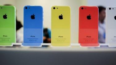 A row of colourful iPhone 5Cs.