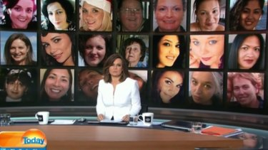 With a montage of some of the 62 women killed since January on screen behind her, Lisa Wilkinson speaks out on the <em>Today</em> show against domestic violence.