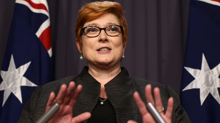 Payne during a press conference at Parliament House in Canberra in September.