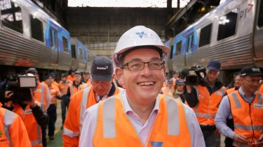 Premier Daniel Andrews on the factory floor at the Downer Rail workshops in Newport.