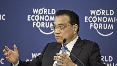 Li Keqiang, China's premier, speaks during a meeting with business leaders at the World Economic Forum in Tianjin, China.