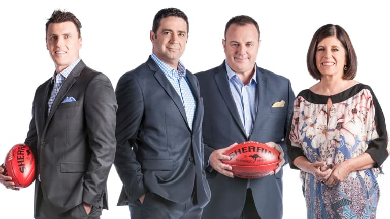 <i>Footy Classified</i> panel Matthew Lloyd, Garry Lyon, Craig Hutchison and Caroline Wilson.