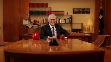 Prime Minister Malcolm Turnbull in his prime ministerial suite at Parliament House in Canberra