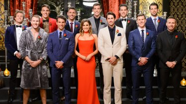 The Bachelorette with all her potential suitors, back at the beginning of the show.