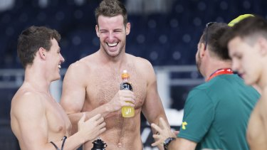 James Magnussen shares a laugh with teammates at the Tollcross International Swimming Centre.