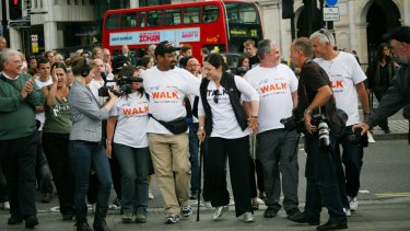 In Trafalgar Square on the final stretch of a 430-kilometre walk for peace in 2008.
