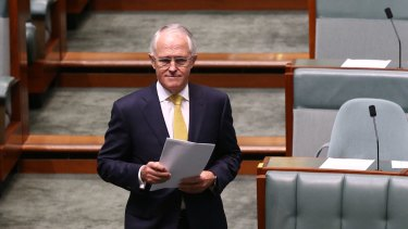 Prime Minister Malcolm Turnbull arrives to deliver his Closing the Gap speech in February 2016.