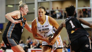 Liz Cambage of the Melbourne Boomers drives to the basket.
