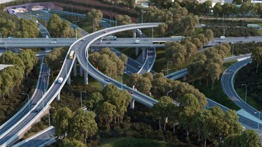 Protesters are concerned about traffic in the St Peters Interchange, shown here in an artist's impression.