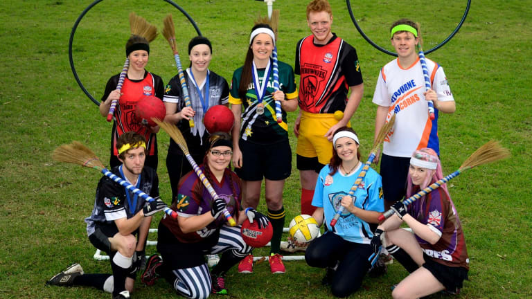 Members of the Victorian Quidditch Association demonstrate how to play the game that is featured in the Harry Potter books.