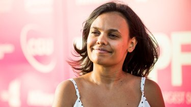 Actor Miranda Tapsell arrives at Tropfest.