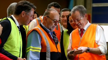 Opposition Leader Bill Shorten during a visit to Backwell IXL in Geelong.