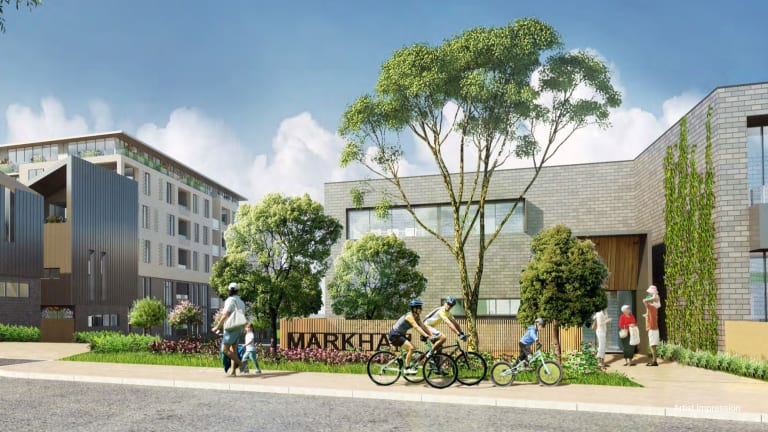 An artist's impression of the Markham public housing estate redevelopment in Ashburton - which is now in doubt.