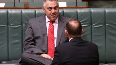 Treasurer Joe Hockey and Prime Minister Tony Abbott during question time at Parliament House.