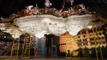 Nick Cave's cloud with chandeliers would make Liberace proud.