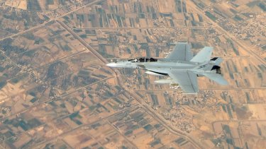 A Royal Australian Air Force F/A-18F Super Hornet in Iraq in 2014.