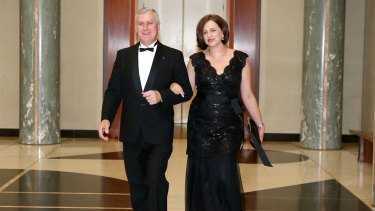 Minister for Small Business Michael McCormack and his wife attend an event in Canberra.