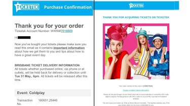 Real or fake? Confirmation email from Ticketek.