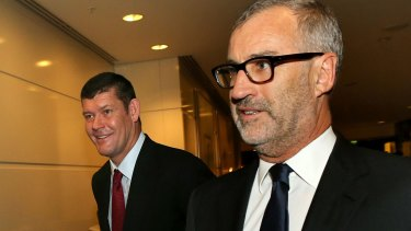 James Packer, left, with departed Crown Resorts chairman Rob Rankin.