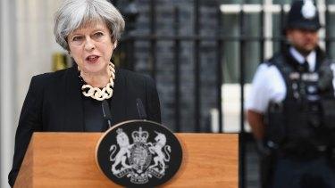 Britain's Prime Minister, Theresa May, addresses the media following the London Bridge terror attack.